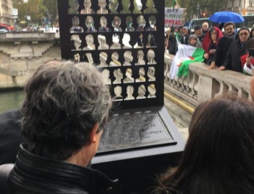 Cérémonie de dévoilement d'une nouvelle stèle par Anne Hidalgo en souvenir de la répression sanglante de la manifestation du 17 octobre 1961 et en hommage aux nombreuses victimes algériennes