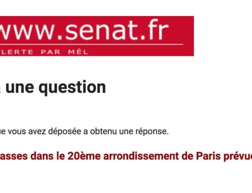 Réponse du Ministre Jean-Michel Blanquer, à ma question écrite à propos la décision de fermeture de 13 classes dans le 20ème arrondissement